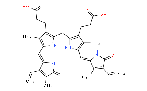 3-[2-[[3-(2-carboxyethyl)-5-[(Z)-(3-ethenyl-4-methyl-5-oxopyrrol-2-ylidene)methyl]-4-methyl-1H-pyrrol-2-yl]methyl]-5-[(Z)-(4-ethenyl-3-methyl-5-oxopyrrol-2-ylidene)methyl]-4-methyl-1H-pyrrol-3-yl]propanoic acid